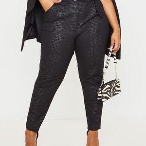 PrettyLittleThing Black Croc Skinny Pant